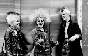 Three punks with mohicans, Chelsea, Kings Rd, London, UK 1970's
